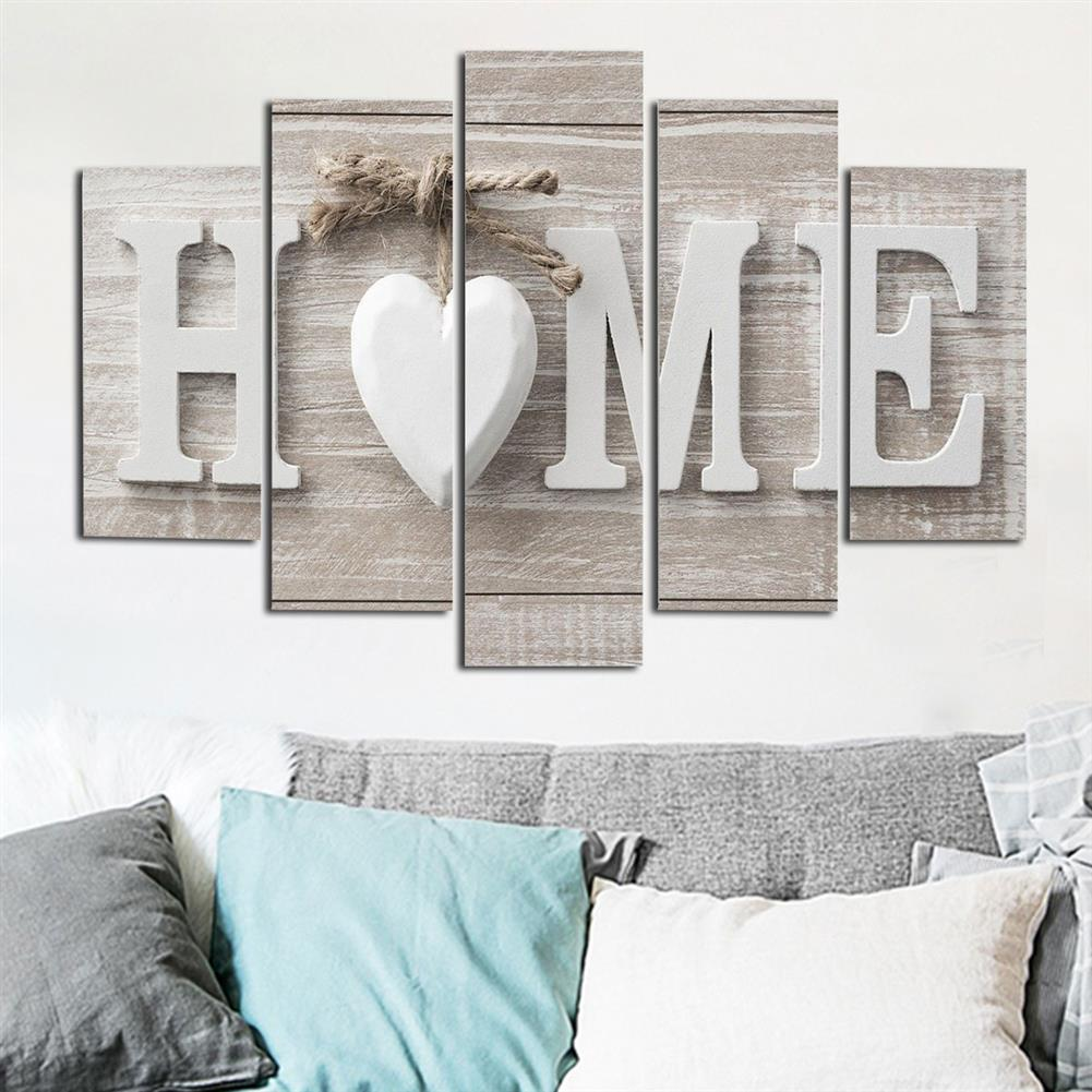 art-kit 5Pcs Canvas Painting Love HOME Wall Decorative Print Art Pictures Frameless Wall Hanging Decorations for Home office HOB1234957 1 1