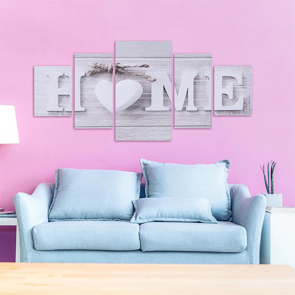 art-kit 5Pcs Canvas Painting Love HOME Wall Decorative Print Art Pictures Frameless Wall Hanging Decorations for Home office HOB1234957 3 1