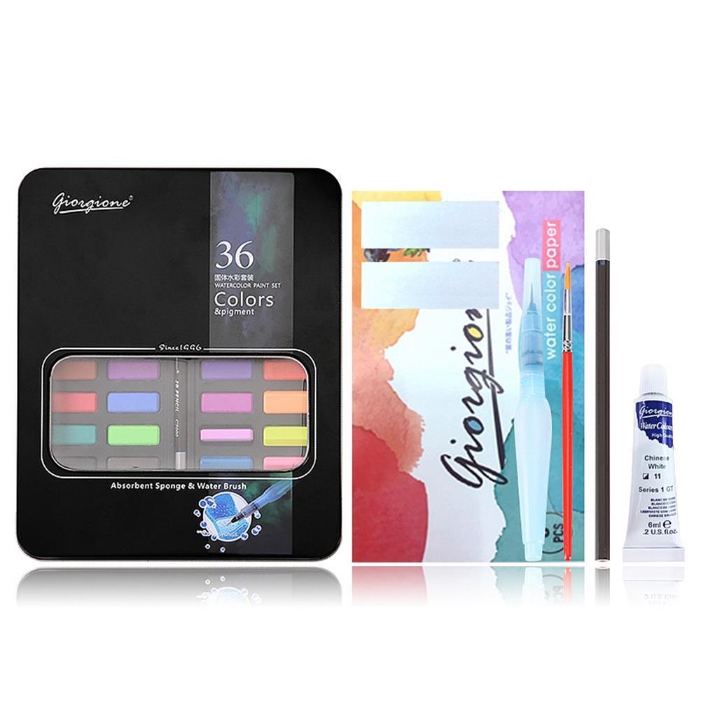 watercolor-paints 36 Color Solid Watercolor Paint Professional Box Paintbrush Portable Pigment Painting Art Supplies HOB1253623 1