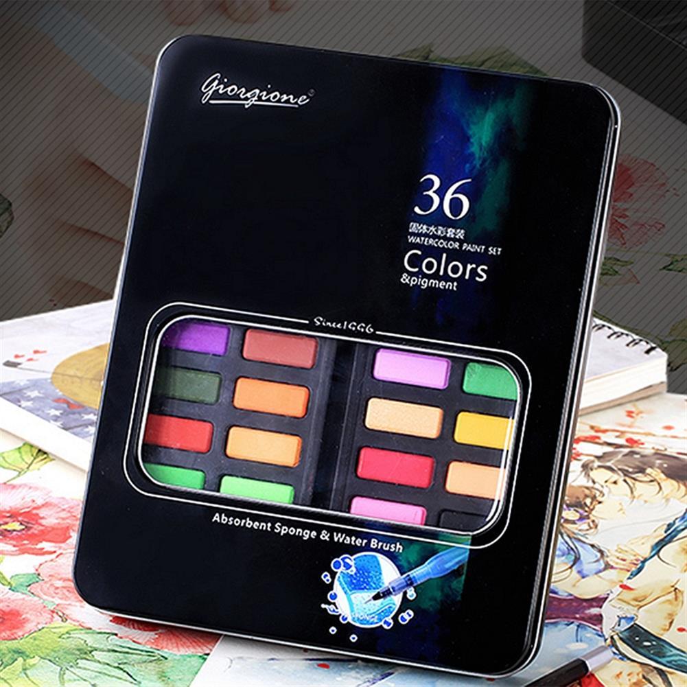 watercolor-paints 36 Color Solid Watercolor Paint Professional Box Paintbrush Portable Pigment Painting Art Supplies HOB1253623 1 1