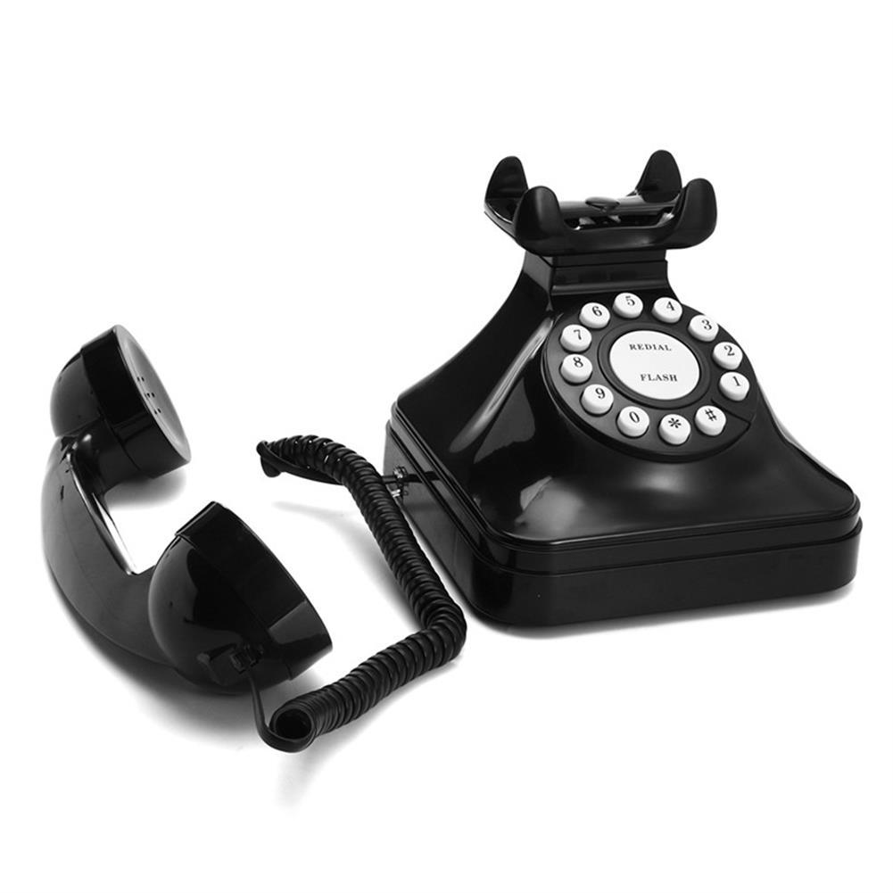 attendance-machine Vintage Retro Antique Phone Wired Corded Landline Telephone Home Desk Decoration Black HOB1258922 1 1