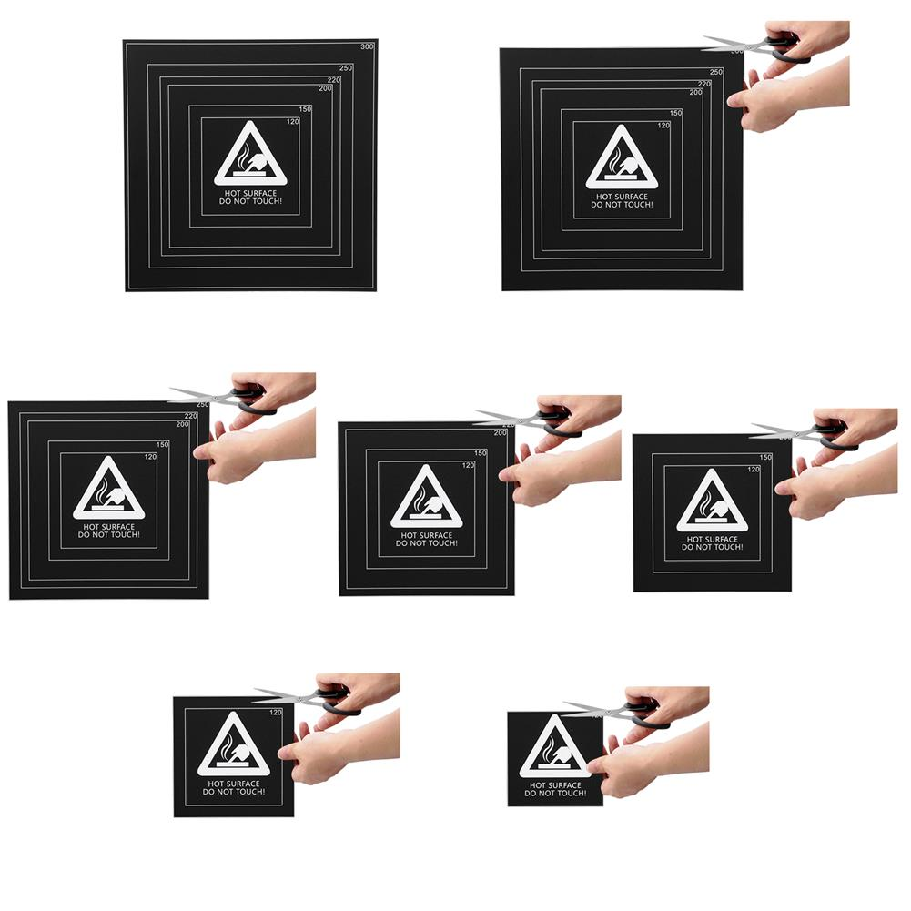 3d-printer-accessories 310x310x0.5mm Black Frosted Heated Bed Sticker Build Plate Tape 1:1 with Wire Frame for 3D Printer HOB1310263 1 1