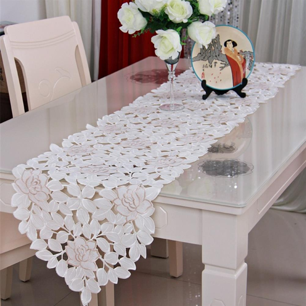 other-learning-office-supplies Lcae Table Mat Oval White Embroidered Lace Floral Table Runner Topper for Wedding Birthday Home indoor Decoration HOB1319590 1