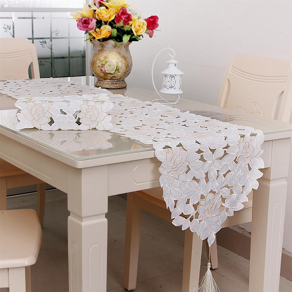 other-learning-office-supplies Lcae Table Mat Oval White Embroidered Lace Floral Table Runner Topper for Wedding Birthday Home indoor Decoration HOB1319590 1 1