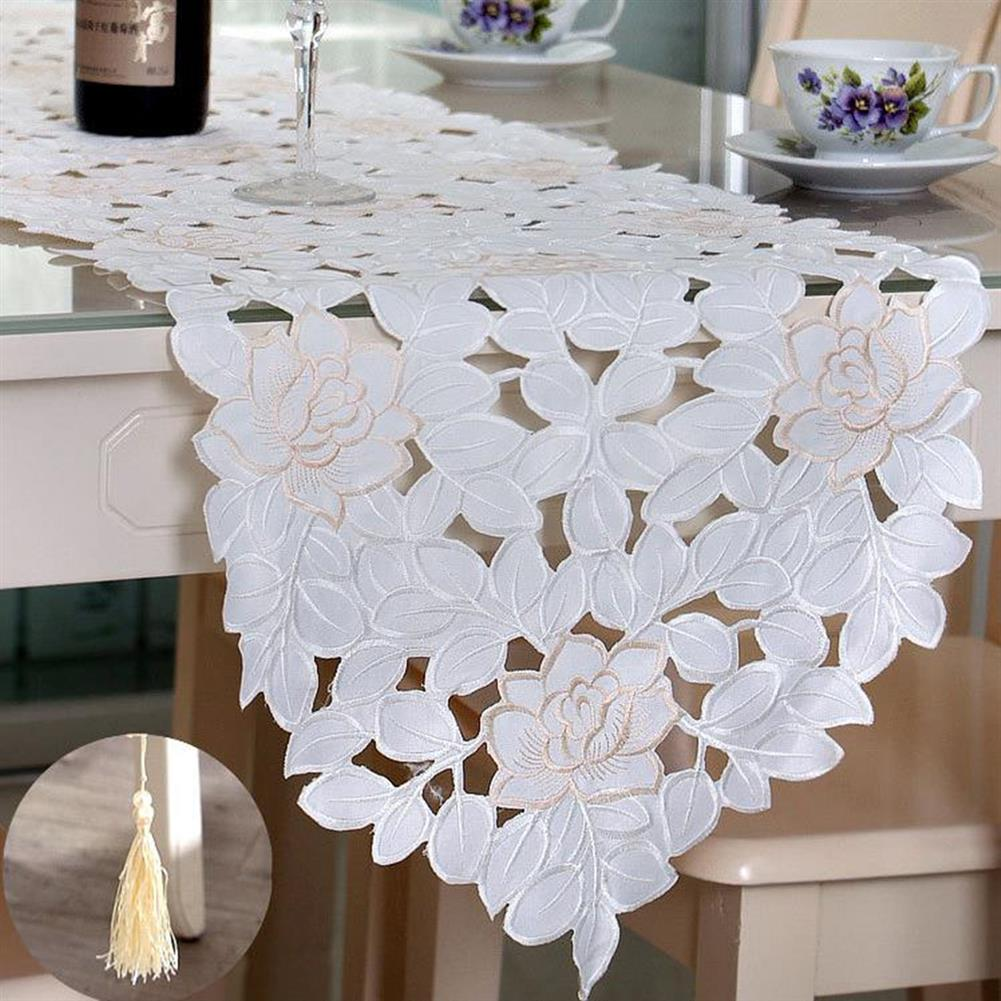 other-learning-office-supplies Lcae Table Mat Oval White Embroidered Lace Floral Table Runner Topper for Wedding Birthday Home indoor Decoration HOB1319590 3 1
