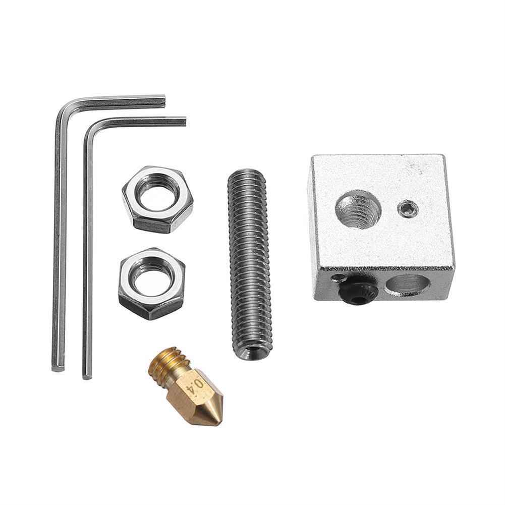 3d-printer-accessories 0.4mm Brass Nozzle + Aluminum Heating Block + 1.75mm Nozzle Throat 3D Printer Part Kit with M6 Screw HOB1333998 1