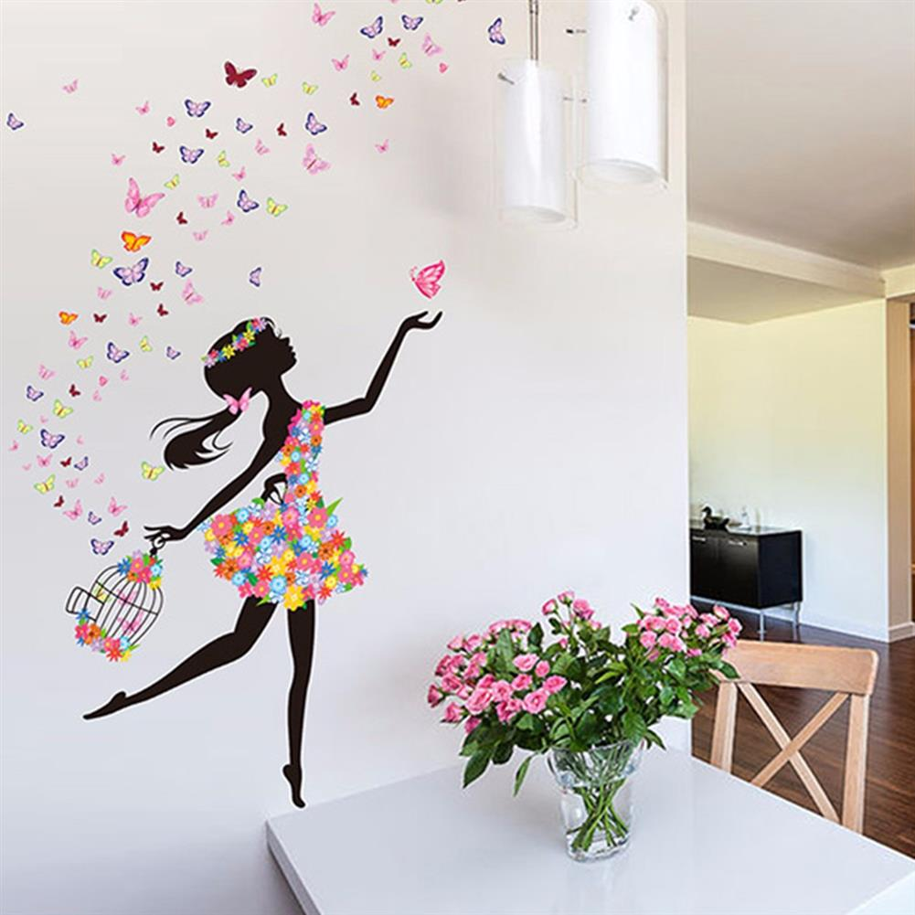 other-learning-office-supplies DIY Wall Stickers Flower Elf Dance Girl Butterfly Wallpaper Wall Decal Home office Living Room Childrens Bedroom Wall Decor HOB1349539 1 1