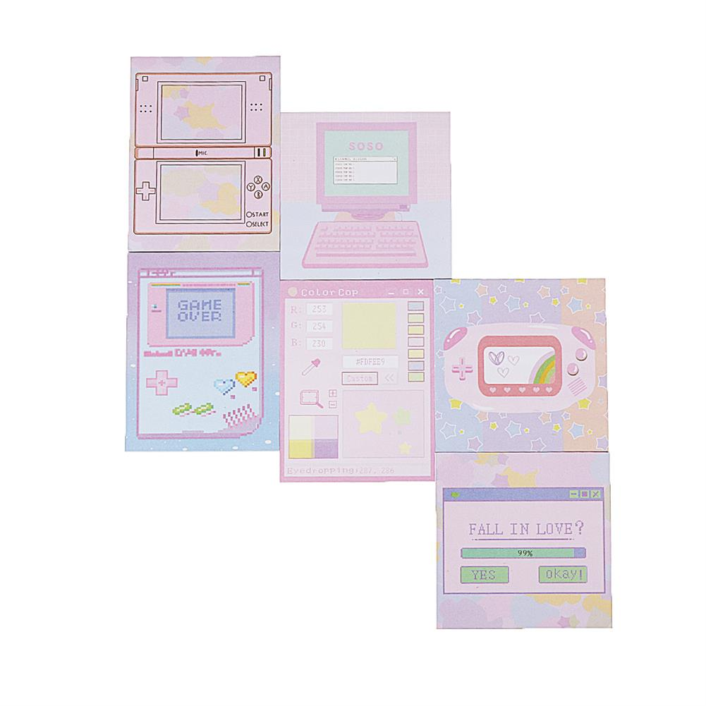 paper-notebooks 6 Pcs/pack Colorful Sticky Notes Cartoon Love Game Pad Sticky Memo Notes Gift Stationery office Sticker School Supplies HOB1444828 1