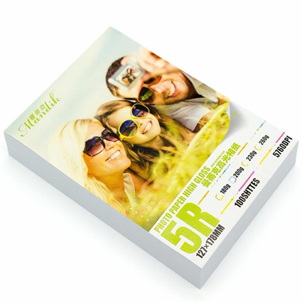 paper-notebooks Mandik 200g A3/A4/5-inch/6-inch/7-inch 20 Sheets/100 Sheets Single Side Glossy Photo Print Paper HOB1451200 1 1