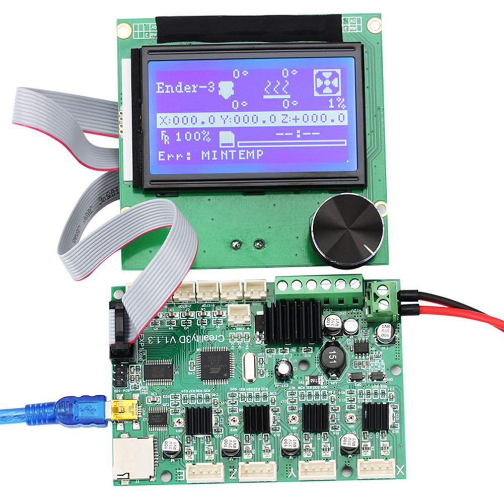 3d-printer-module-board Mainboard Replacement Control Board Motherboard + LCD 12864 Display with Cable Kit for Creality Ender-3 3D Printer HOB1455350 1 1