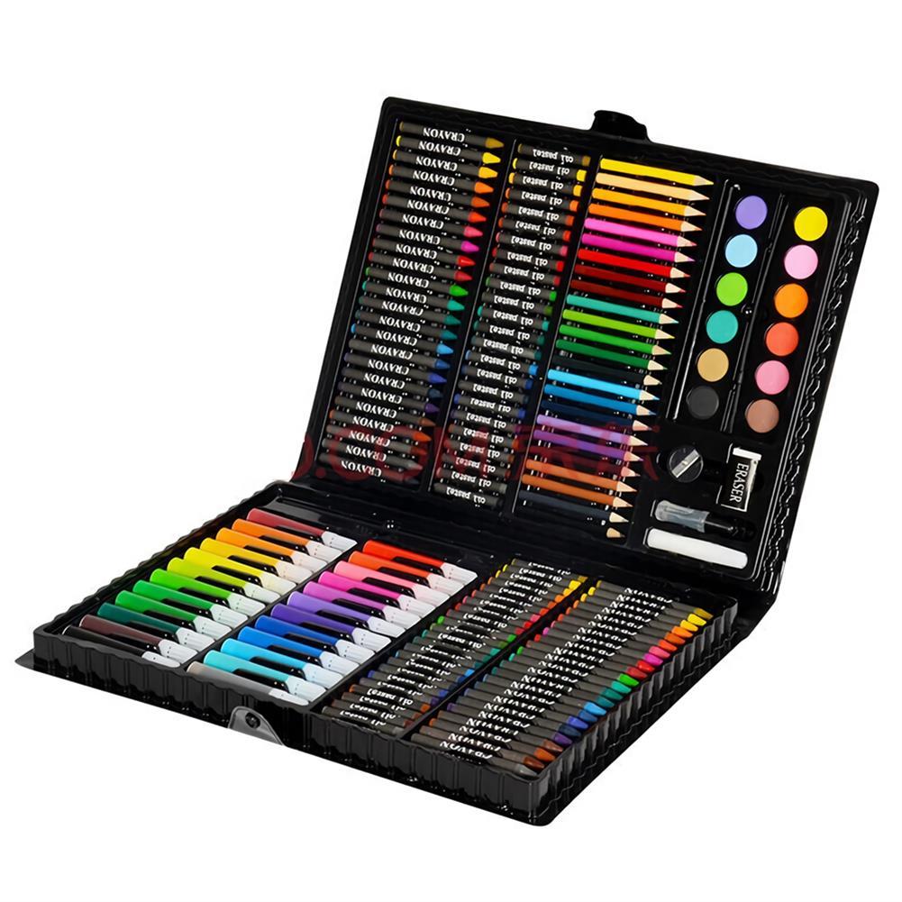 watercolor-paints KIDDYCOLOR 163Pcs Watercolor Painting Set Painting Brush Pencils Crayon Set Children's Drawing Art Graffiti Pen HOB1460526 1