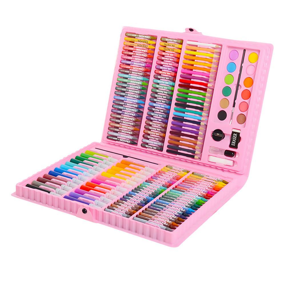 watercolor-paints KIDDYCOLOR 163Pcs Watercolor Painting Set Painting Brush Pencils Crayon Set Children's Drawing Art Graffiti Pen HOB1460526 1 1