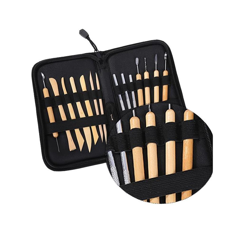 watercolor-paints ZHUTING TL-14 14Pcs Clay Sculpting Carving Tool Set Wooden Metal Pottery Clay Tools Professional DIY Ceramic Modeling Kit for Clay Wood Shaping Handicraft Painting Embossing with Bag HOB1470705 1 1