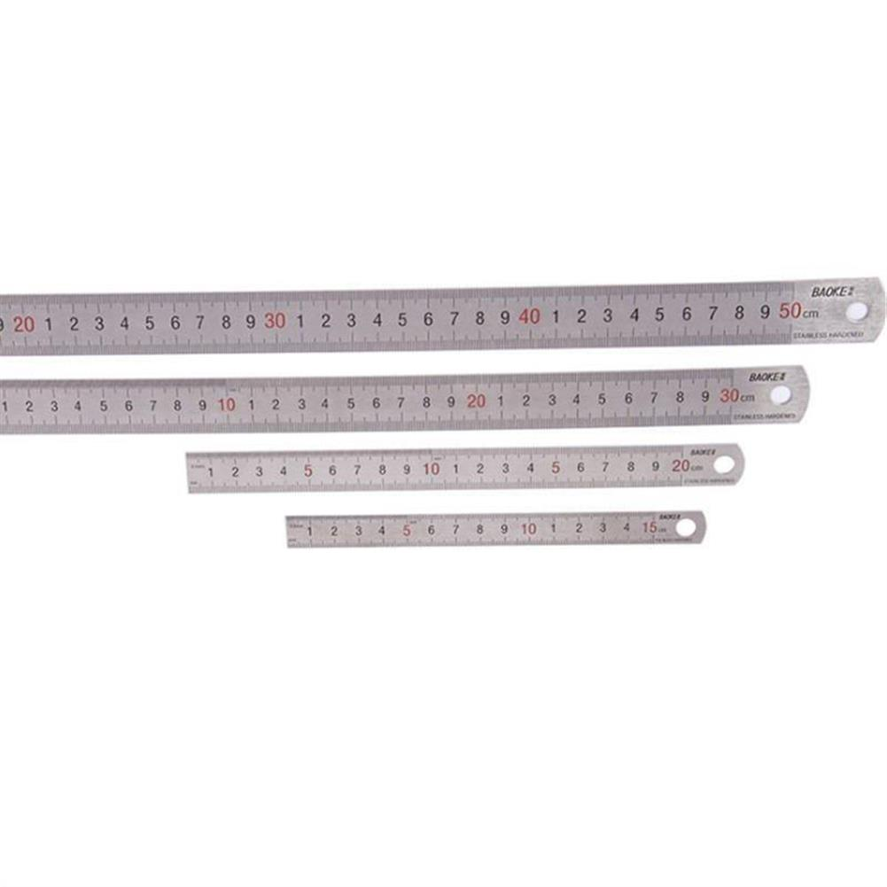 ruler BAOKE 1Pcs 15cm/20cm/30cm/50cm Stainless Steel Straight Ruler Double Scale Student Rulers Painting Drawing Measuring Tool School office Supplies Stationery HOB1480438 1 1