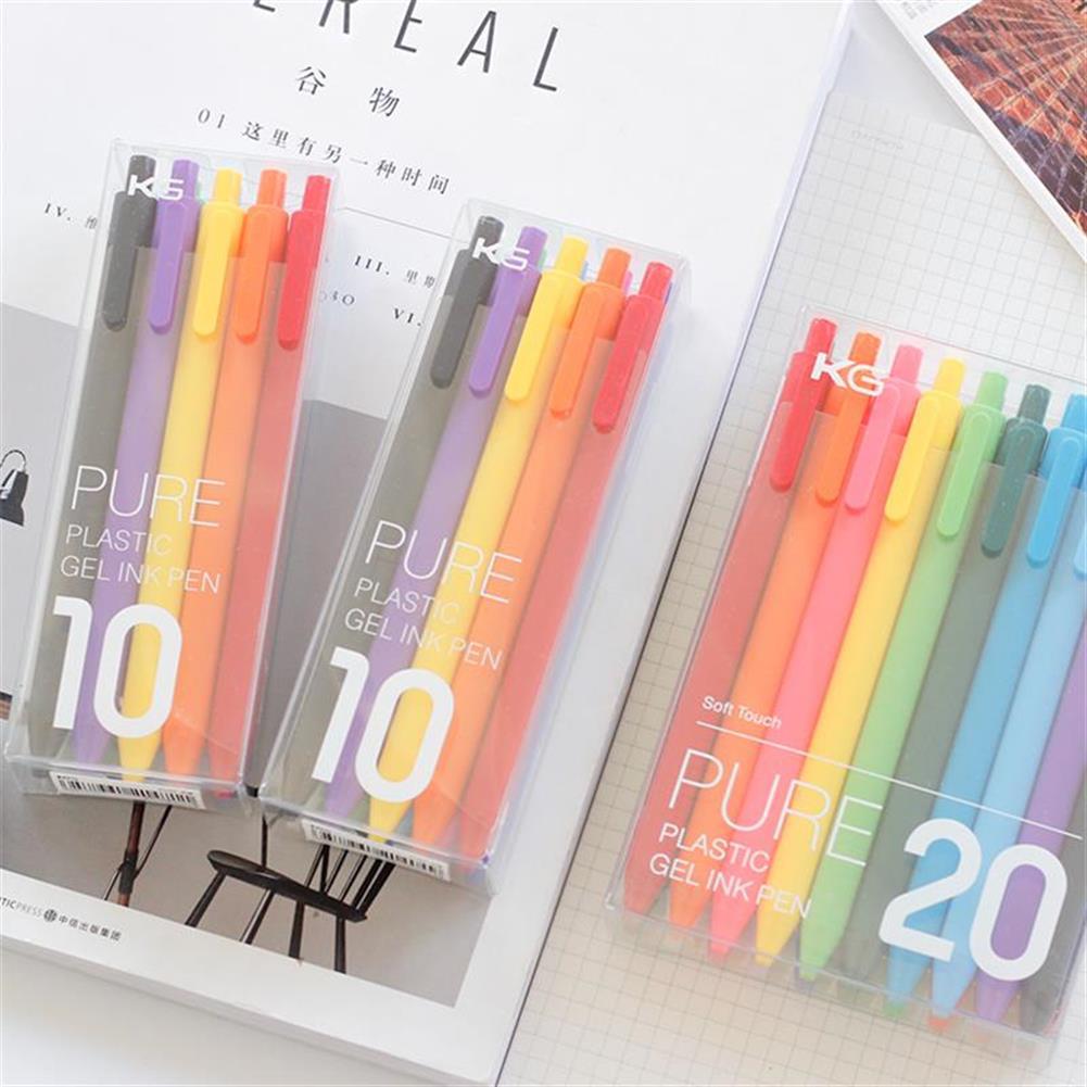 gel-pen KACO PURE 20Pcs/lot Candy Color Gel Pens 0.5mm Multicolor Gel ink Pens Press Type Writing Pen Stationery office School Supplies HOB1484073 2 1