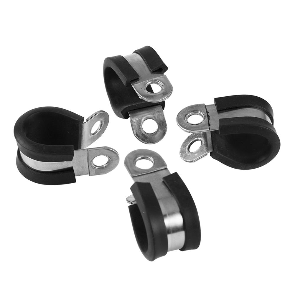 3d-printer-accessories 4Pcs Stainless Steel Rubber Lined P Clip Flexible Pipe Clamp for 3D Printer HOB1530608 2 1