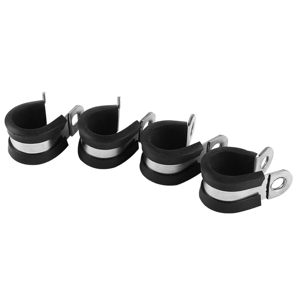 3d-printer-accessories 4Pcs Stainless Steel Rubber Lined P Clip Flexible Pipe Clamp for 3D Printer HOB1530608 3 1