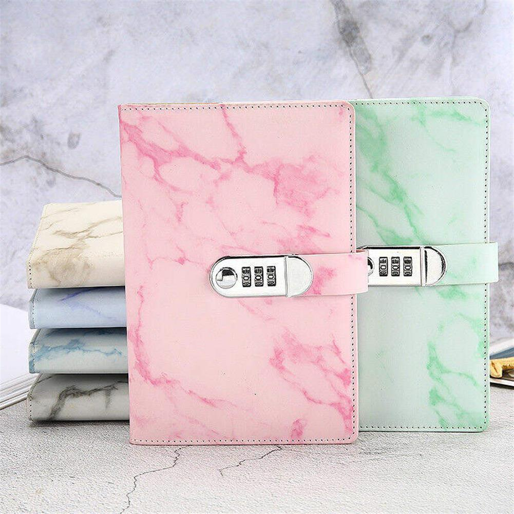paper-notebooks A5 Notebook Paper Vintage Leather Marbling Diary Journal with Combination Password Lock Code Notebook School office Supplies HOB1533628 1