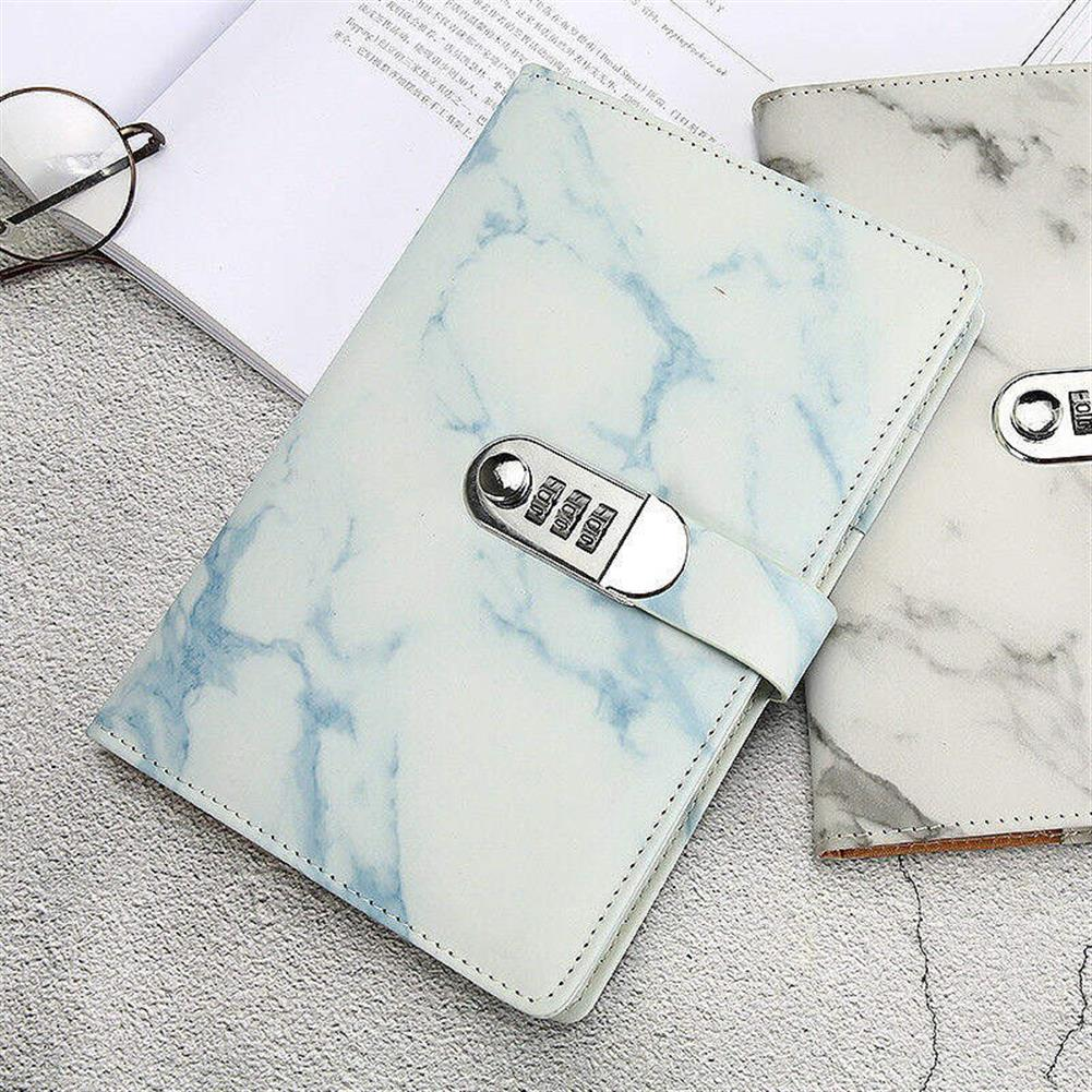 paper-notebooks A5 Notebook Paper Vintage Leather Marbling Diary Journal with Combination Password Lock Code Notebook School office Supplies HOB1533628 3 1