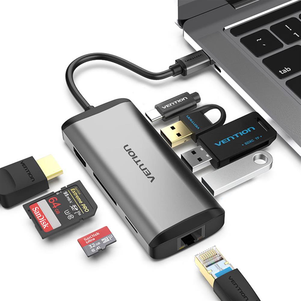 usb-hubs Vention CNDHB Type-C to HDMI USB3.0 RJ45 SD TF PD Converter 8-in-1 Type-C Adapter HOB1534158 1