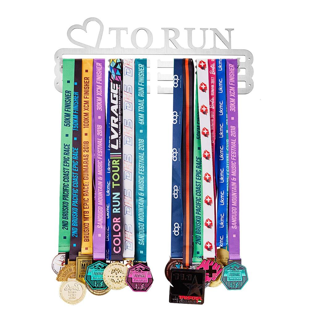 other-learning-office-supplies 'LOVE TO RUN' Medal Hanger Display Holder Brushed Stainless Steel Wire 36 Medals Hanger 32cm Triple Bar HOB1537251 1