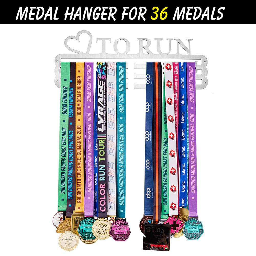other-learning-office-supplies 'LOVE TO RUN' Medal Hanger Display Holder Brushed Stainless Steel Wire 36 Medals Hanger 32cm Triple Bar HOB1537251 1 1