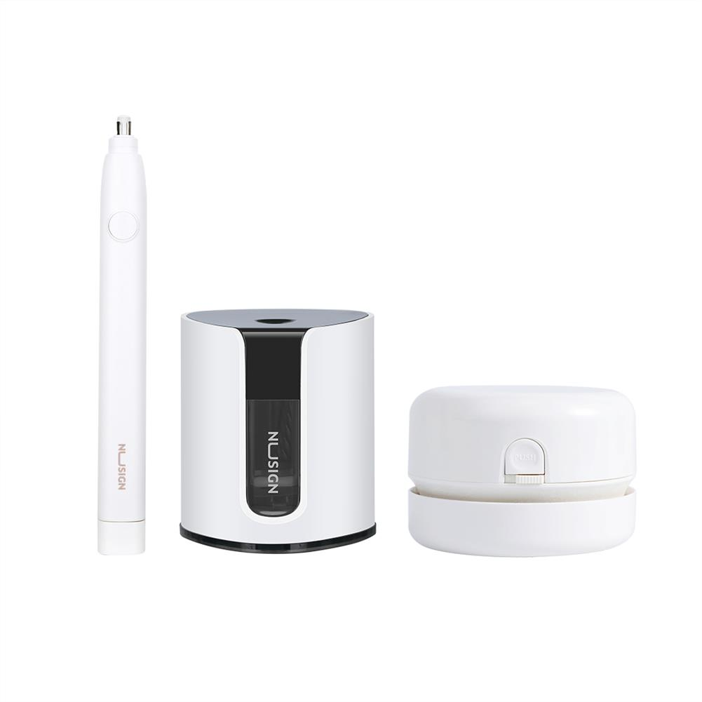 desktop-off-surface-shelves [From XM ] NUSIGN NSYP002 4 Pcs Stationery Set Electric Pencil Sharpener Electric Eraser Vacuum Cleaner Set office School Supplies for Kids Cute Stationery Gift HOB1537659 1