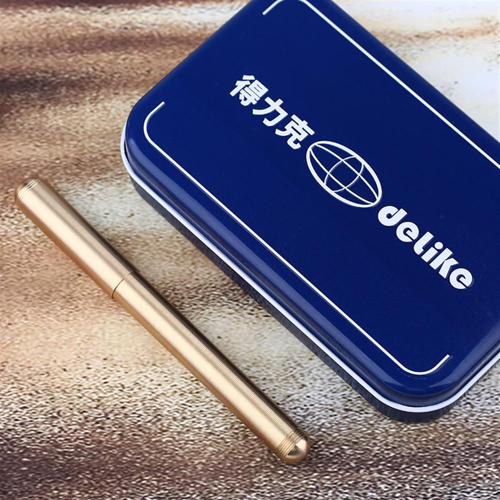 gel-pen Delike Luxury Brass Fountain Pen Copper Writing Signing Pen Gift with Iron Box office School Stationery Supplies for Students Friends Family HOB1541718 1 1