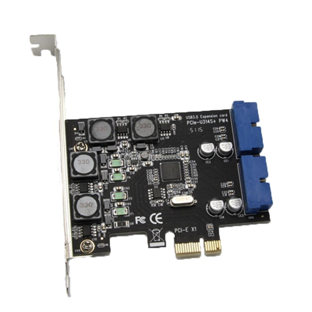 pci-cards SSU N014S+PW4 PCI - E to USB 3.0 Expansion Card with Front - Facing 19 / 20 Pin interface for Desktop Computer HOB1548818 1
