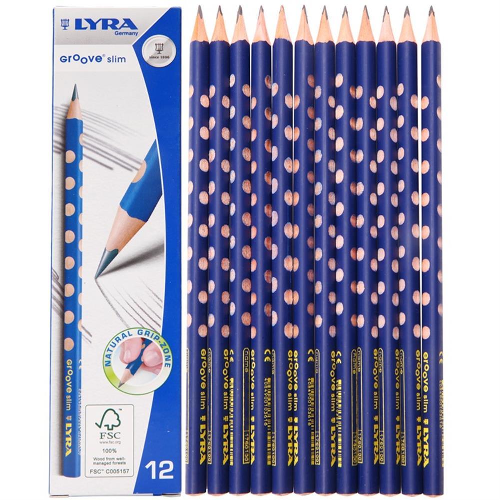pencil Lyra 1760102 12 Pcs/Set Wooden Sketch Pencils Slim Hole Correction Writing Posture Grip Position Painting Drawing Pencil HOB1549915 1
