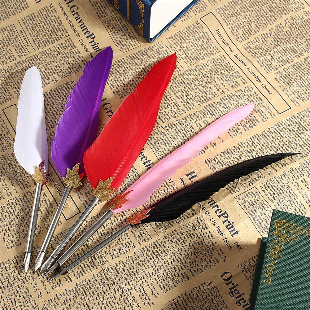 gel-pen Retro Quill Feather Dip Pen Goose Vintage Writing Calligraphy Pen Fountain Pen Nib Set Gift School office Supplies HOB1554512 1 1