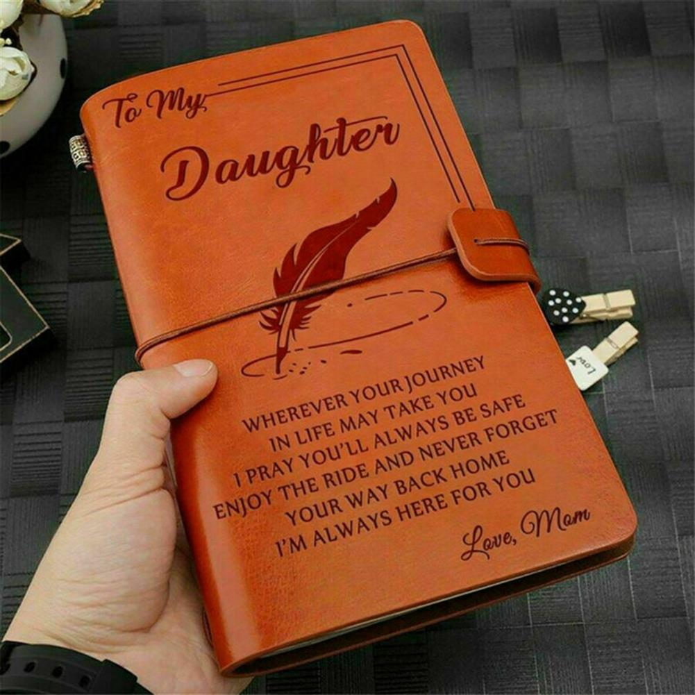 paper-notebooks To My Daughter Where Ever Love Mom Engraved Leather Journal Notebook Diary Custom Message Quotes Gift Anniversary Birthday HOB1557169 1