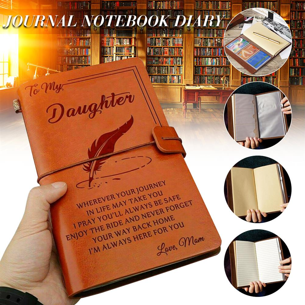 paper-notebooks To My Daughter Where Ever Love Mom Engraved Leather Journal Notebook Diary Custom Message Quotes Gift Anniversary Birthday HOB1557169 1 1