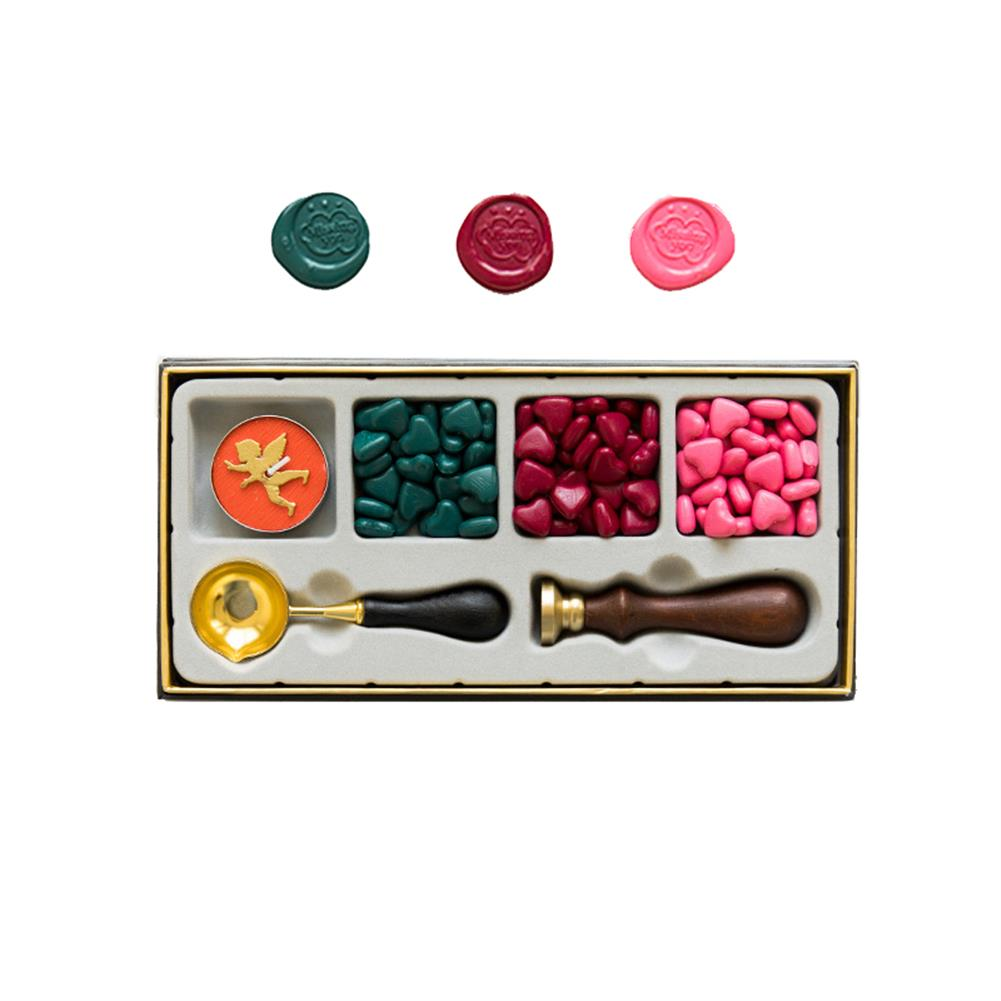 seal-ink-stamp RosyPosy Vintage Lacquer Seal Wax Kit Seal Stamp Wooden Handle DIY Postcard Slogan Lacquer Sealing Tools Set Gifts HOB1562135 1