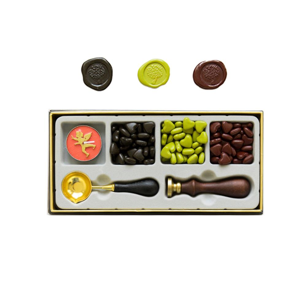 seal-ink-stamp RosyPosy Vintage Lacquer Seal Wax Kit Seal Stamp Wooden Handle DIY Postcard Slogan Lacquer Sealing Tools Set Gifts HOB1562135 1 1