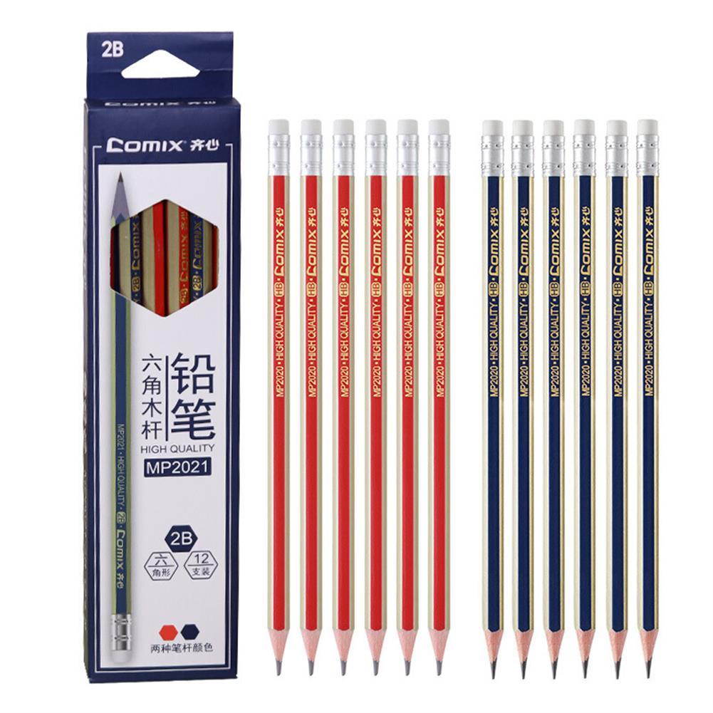 pencil Comix MP2020 12 Pcs Wood Hexagon Pencils HB Students Pencil with Eraser Head office School Supplies Stationery HOB1567056 1
