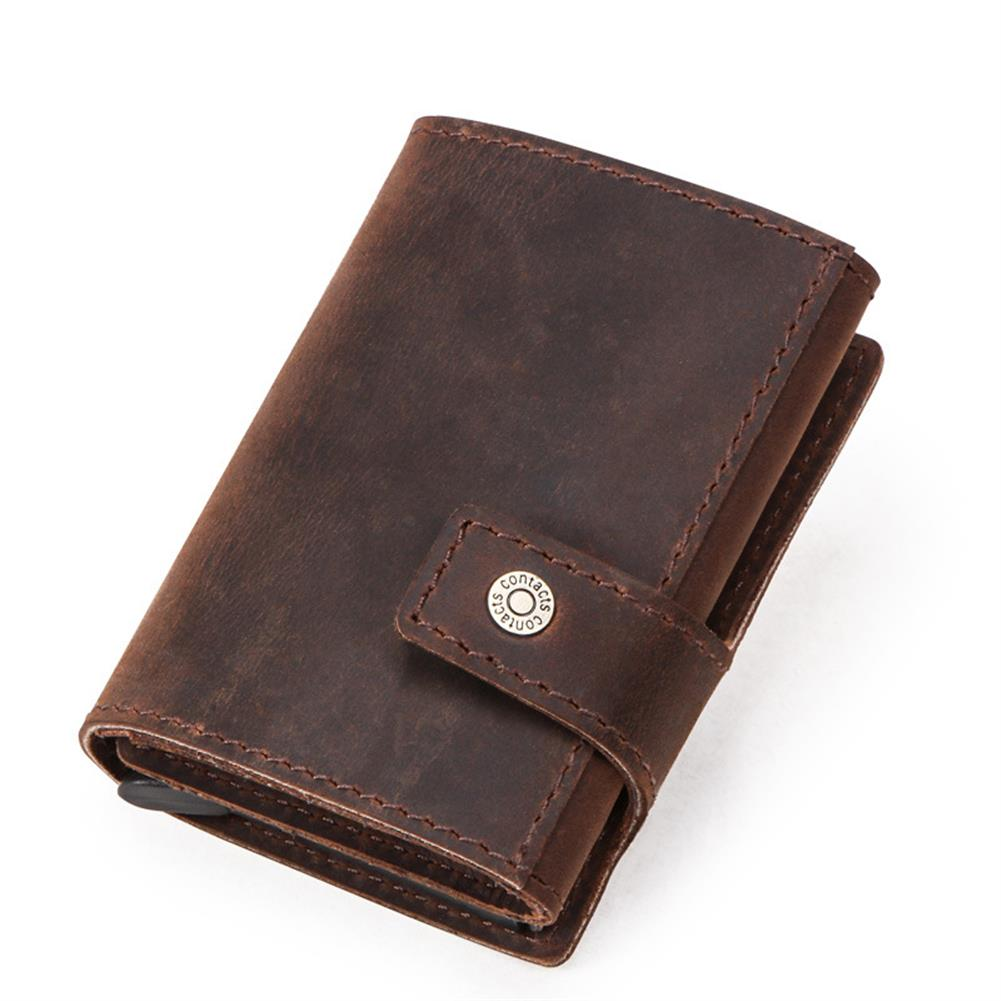 business-card-book CONTACTS RFID Portable Auto Pops Up Buckle Business Card Holder Wallet Crazy Horse Cow Leather Vintage Name Card Case ID Credit Card Storage Box HOB1567205 1