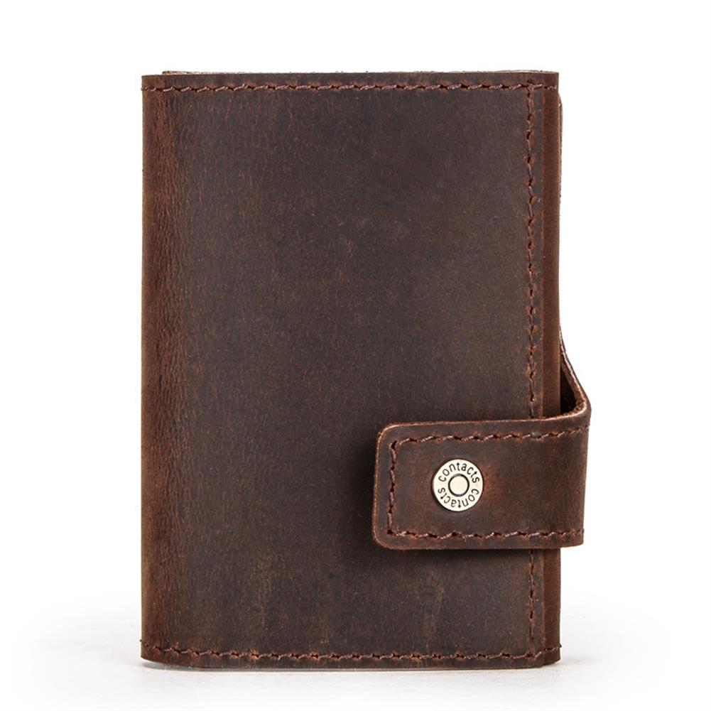 business-card-book CONTACTS RFID Portable Auto Pops Up Buckle Business Card Holder Wallet Crazy Horse Cow Leather Vintage Name Card Case ID Credit Card Storage Box HOB1567205 1 1