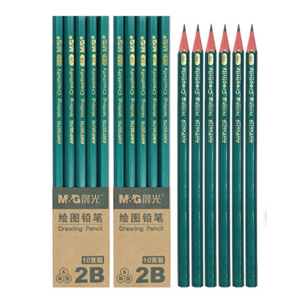 pencil 10 Pcs/Set Pencils Black Hard 2B HB Lead Wooden Pencil Stationery Art Painting Sketch Drawing Writing Supplies HOB1570265 1