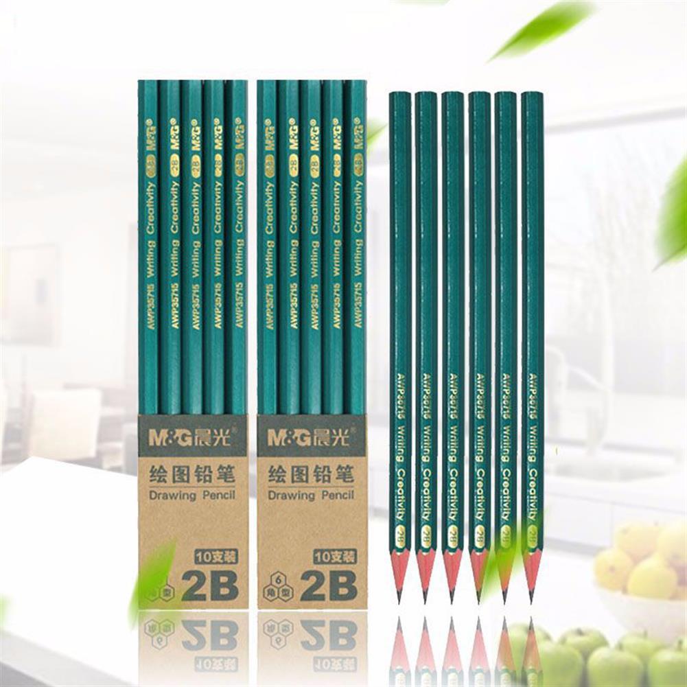 pencil 10 Pcs/Set Pencils Black Hard 2B HB Lead Wooden Pencil Stationery Art Painting Sketch Drawing Writing Supplies HOB1570265 1 1