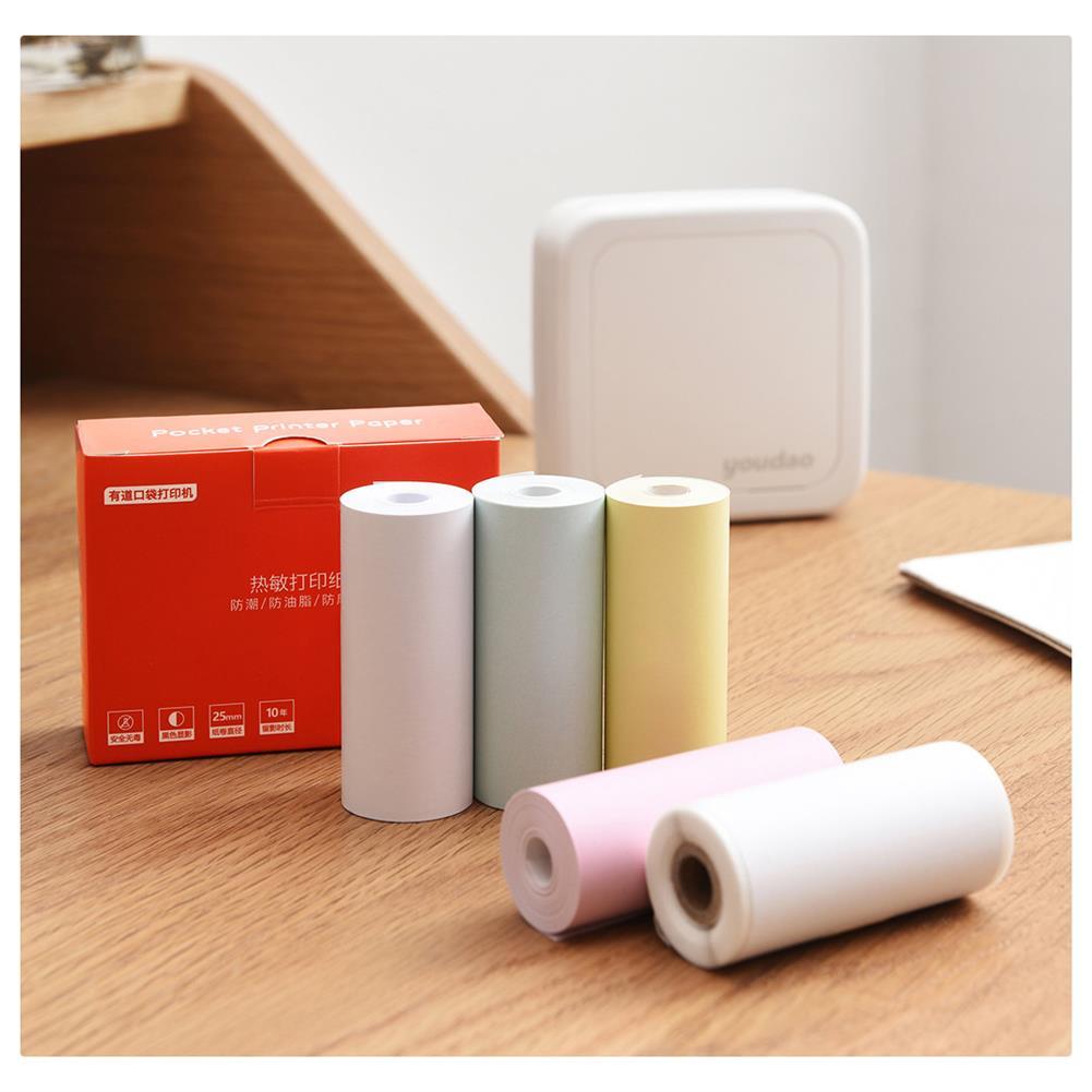 printers XIAOMI 3 Rolls 57*25mm Heat Sensitive thermal Self-adhesive Printing Paper for GT1/G4 XIAOMI Youdao Pocket Printer HOB1572542 2 1