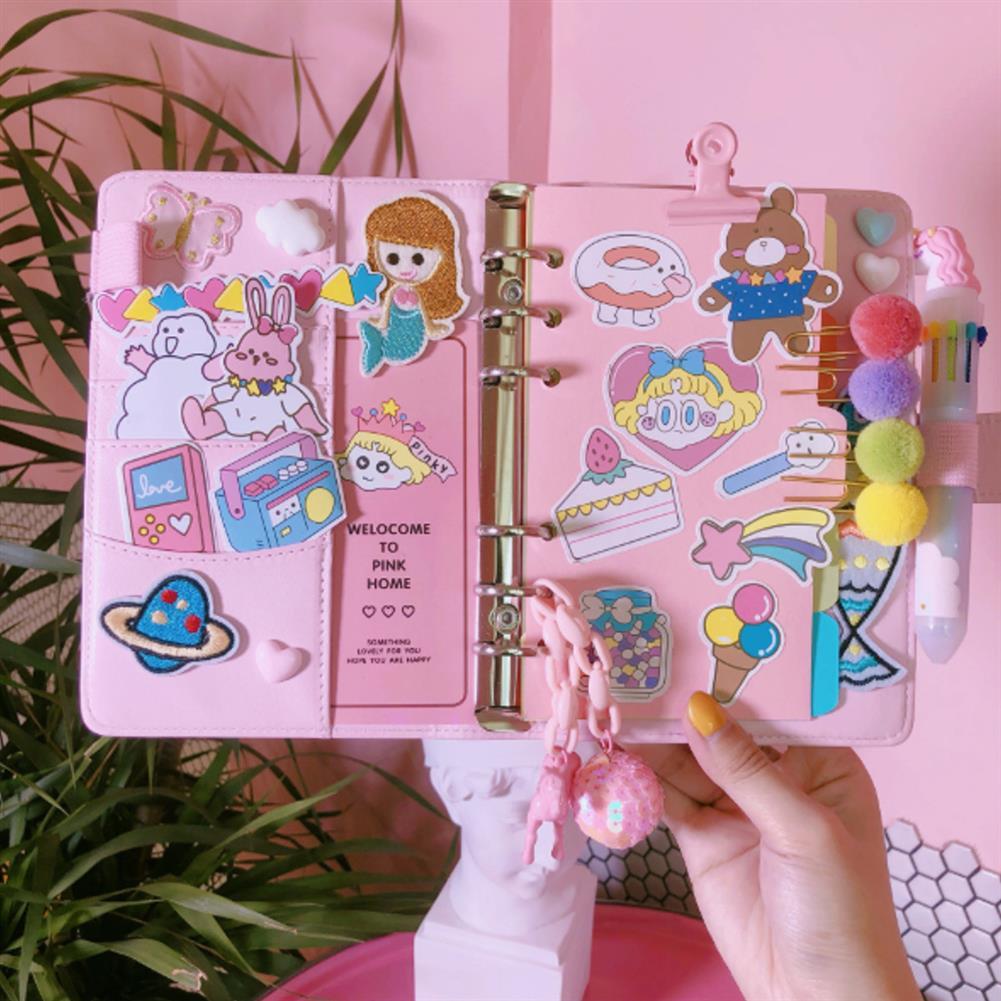 paper-notebooks 1 Piece A6 Diary DIY Notebook Cute Cartoon Girl Heart Account Diary Plan Loose-leaf Notebook HOB1572766 1 1