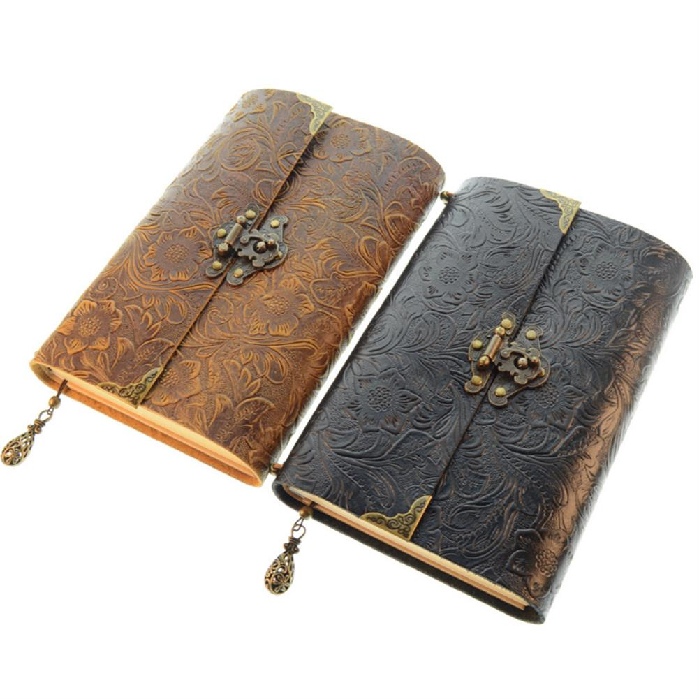 paper-notebooks Embossed Pattern Soft Leather Travel Notebook with lock and Key Diary Notepad Kraft Paper for Business Sketching & Writing HOB1572768 1