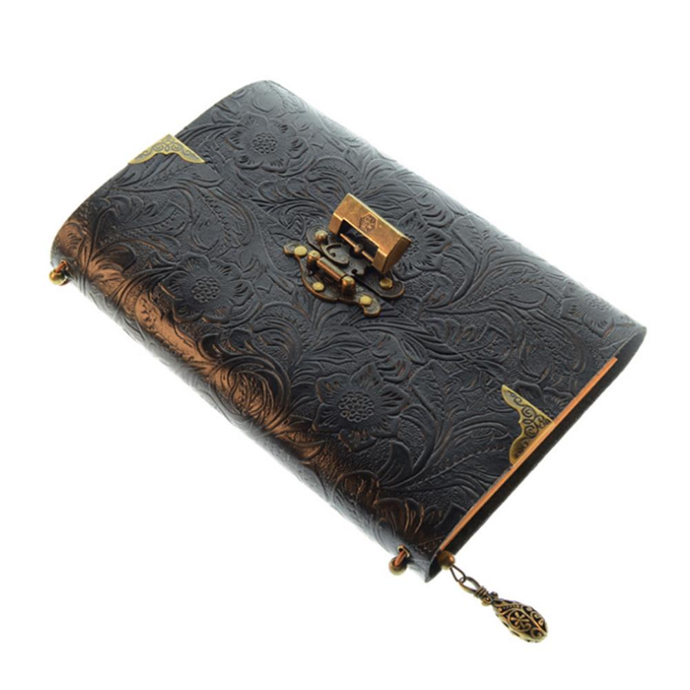 paper-notebooks Embossed Pattern Soft Leather Travel Notebook with lock and Key Diary Notepad Kraft Paper for Business Sketching & Writing HOB1572768 1 1