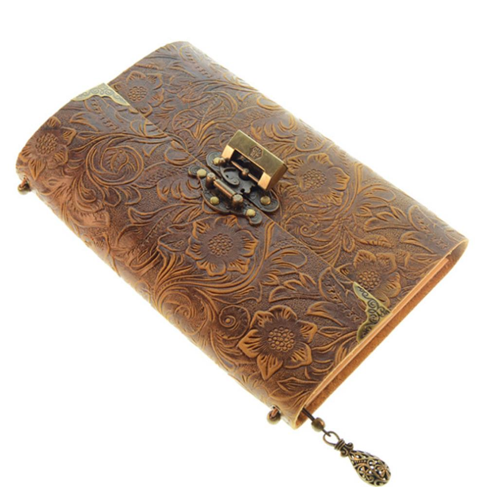 paper-notebooks Embossed Pattern Soft Leather Travel Notebook with lock and Key Diary Notepad Kraft Paper for Business Sketching & Writing HOB1572768 2 1