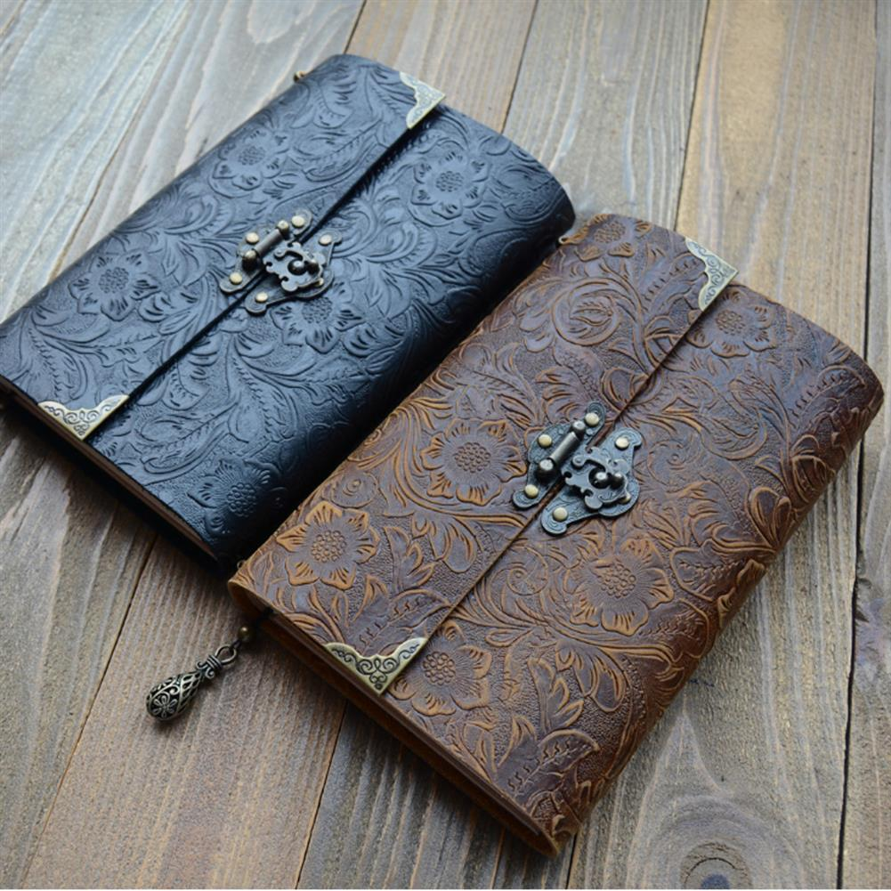 paper-notebooks Embossed Pattern Soft Leather Travel Notebook with lock and Key Diary Notepad Kraft Paper for Business Sketching & Writing HOB1572768 3 1