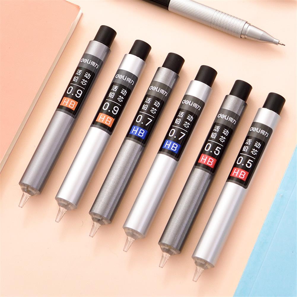 pencil Deli Press Type 0.5/0.7/0.9mm HB Automatic Pencil Refills Lead office School Stationery Mechanical Pencil Refill HOB1584554 1