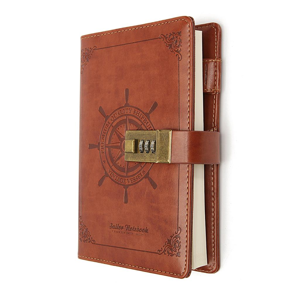 paper-notebooks B6 Notebook Vintage Notepad Diary Daily Memos Planner Agenda Notebook PU Leather Sketchbook with Lock Password office School Students Supplies HOB1588703 3 1