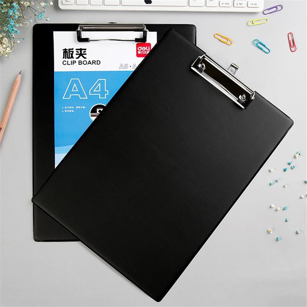 gel-pen Deli 9224 A4 PVC Clip Board Portable Black Writing Board Clipboard office School Meeting Accessories with Metal Clip HOB1588722 2 1
