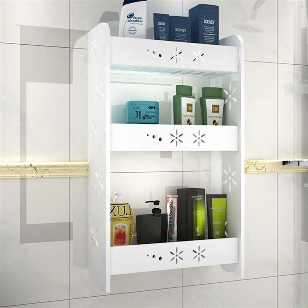 desktop-off-surface-shelves 1 Piece Punch-free Bathroom Kitchen Wall-mounted Storage Rack Multipurpose Shelf 2/3 Layers S/M/L Size HOB1590161 1 1